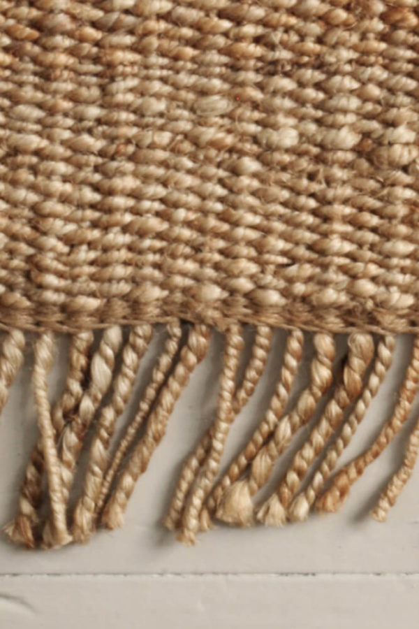 Natural Fringe Hemp Rug closeup