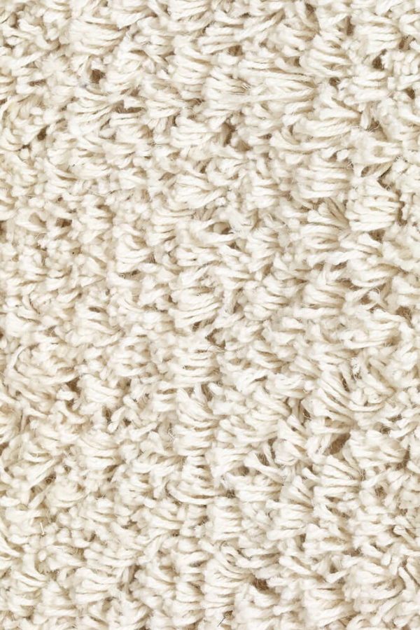 White Long Pile Linen Rug closeup