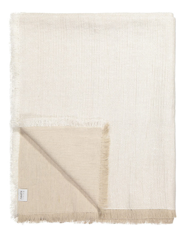 White Fishbone Linen Throw