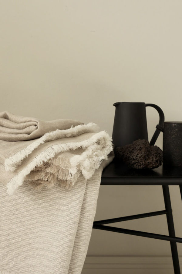 White Fishbone Linen Throw interior