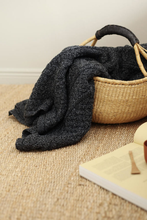 Charcoal Knitted Wool Throw interior