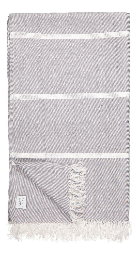 Gray Linen Beach Towel