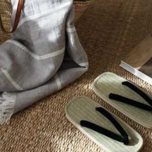 Gray Linen Beach Towel interior